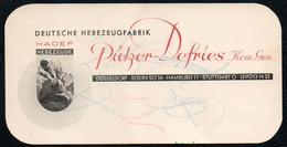 A3516 - HADEF Hebezeugfabrik - Pützer Defries Düsseldorf Berlin Hamburg Stuttgart - Visitenkarten