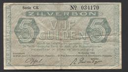 Netherlands 5 Gulden 1944. - Serrie CK - No 034170 - See The 2 Scans For Condition.(Originalscan ) - [2] 1815-… : Kingdom Of The Netherlands