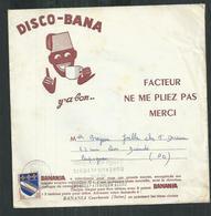 Disco Bana. Disque Vinyl Banania Expédié Par La Poste Affranchi Avec 10ct Blason De Troyes - Spezialformate