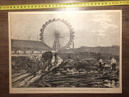 1900 PARIS CHAMP DE MARS GRANDE ROUE TRAVAUX GRANDES RAMPES CHATEAU D EAU - Vieux Papiers