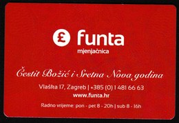 Pocket Calendar / Croatia 2016 / Currency Exchange Office Funta, Pound / Merry Christmas And Happy New Year - Calendars