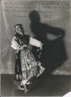 """FLAMENCO - MERCEDES ... ? """"Unidentified"""" With Autograph Dedicacee - Original Big Photo 24x17cm 1938 By Bocanegra - Fotos Dedicadas"""