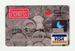Santander PUERTO RICO Coins VISA Expired 1998 - Cartes De Crédit (expiration Min. 10 Ans)