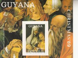 1989 Guyana Christmas Noel Art Painting  Rubens Durer Complete Set Of 4 MNH In MORE DIFFICULT Souvenir Sheet Format - Guyana (1966-...)
