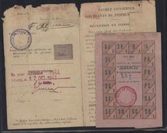 Guerre 39 45 Etat Français Carte Ravitaillement Carte Jardinage Pour Achat Semences Ticket Rationnement Tours 1943 44 - Marcophilie (Lettres)