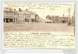 PERUWELZ ..-- La Grand' Place . 1904 Vers MOLENBEEK ( Mr Mme SAUVAL? ) . Voir Verso . - Péruwelz