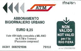 Biglietto  Usato   -  A T M   MILANO  -  Abbonamento Giornaliero Urbano - € 8,25 -  Anno  2016 - Europa