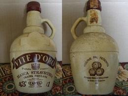 Bottiglia Grappa Stravecchia Vite D'Oro In Ceramica, 1 Litro, Periodo Anni 70 - Spiritueux