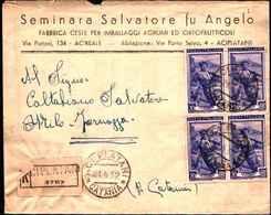 711) RACCOMANDATA CON QUARTINA DEL 20 LIRE ITALIA AL LAVORO DA ACIPLATANI A MILO IL 21-4-1952 - 1946-.. République