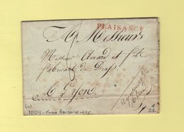 Plaisance - Griffe Provisoire En Attente De La Griffe à Numero - Departement Conquis 111 Le Taro - Sans Correspondance - 1792-1815: Conquered Departments