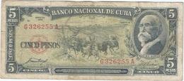 Cuba 5 Pesos 1958 Pk 91 A Ref 609-31 - Cuba