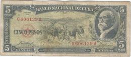 Cuba 5 Pesos 1958 Pk 91 A Ref 609-6 - Cuba