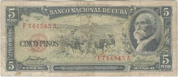 Cuba 5 Pesos 1958 Pk 91 A Ref 609-7 - Cuba