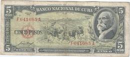 Cuba 5 Pesos 1958 Pk 91 A Ref 609-9 - Cuba