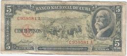 Cuba 5 Pesos 1958 Pk 91 A Ref 609-10 - Cuba