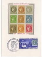 Carte Maximum  France 1970 - Centenaire De L'émission De Bordeaux YT 1659 - 33 Bordeaux - Maximum Cards