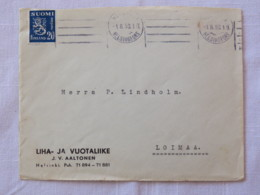 Finland 1950 Cover Helsinki To Loimaa - Lion - Finland