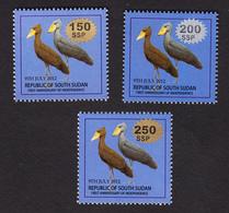 SOUTH SUDAN Surcharged Overprints SANS SERIF On 1 SSP Birds Of The 2nd Set SOUDAN Du Sud Südsudan - Südsudan