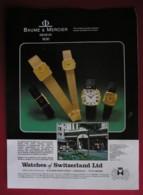BAUME @ MERCIER WATCHES -ORIGINAL  1978 MAGAZINE ADVERT - Advertising