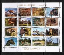 UMM Al-QIWAIN  Scott # UNLISTED 1972 VF USED WILD ANIMALS MINI SHEET Of 16 (LG-1086) - Umm Al-Qiwain