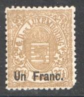 Prifix  36 1franc Sur 37½ Cent. * - 1859-1880 Coat Of Arms