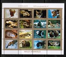 AJMAN  Scott # UNLISTED 1972 VF USED WILD ANIMALS MINI SHEET Of 16 (LG-1087) - Ajman