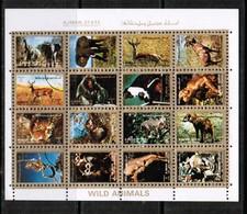 AJMAN  Scott # UNLISTED 1972 VF USED WILD ANIMALS MINI SHEET Of 16 (LG-1088) - Ajman
