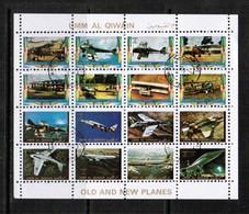 UMM Al-QIWAIN  Scott # UNLISTED 1972 VF USED OLD & NEW AIRPLANES MINI SHEET Of 16 (LG-1090) - Umm Al-Qiwain