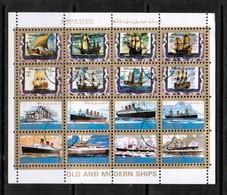 AJMAN  Scott # UNLISTED 1972 VF OLD & MODERN SHIPS MINI SHEET Of 16 (LG-1092) - Ajman