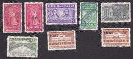 Panama, Scott #395-396, 400, 404, 406, 408, 411-412, Used, Milk Maid, Cocle, Arms, Archives, Issued 1954-57 - Panama