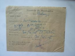 Protectorat Du CAMBODGE SERVICE DE SANTE CERTIFICAT DE VACCINATION ANTI CHOLERIQUE 1948 PHNOM-PENH  Mai 2019 Clas Let - Historical Documents