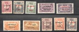 Lattaquié  Roupe De 10 Tmbres 1-4, 9, 11, 20-2, PA1 Oblitérés, Sauf 3 * - Lattaquie (1931-1933)