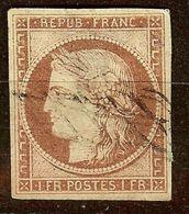 SUPERBES MARGES / CERES N°6 1F Carmin Oblitéré GRILLE SANS FIN Cote 1000€ Signé - 1849-1850 Cérès