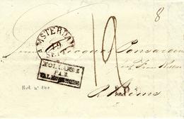 "1837- Letter From Amsterdam To Rheims ( France ) "" HOLLANDE /PAR/ VALENCIENNES "" Black - Marcophilie (Lettres)"