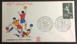 D375 Finale VIIÈ Paris Championnat Du Monde De Handball 8/3/1970 1629 Handball - Postmark Collection (Covers)