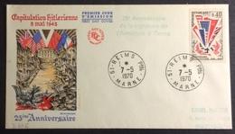 D376 «25è Anniversaire Signature Armistice Reims» 1450 Reims 7/5/1970 - Postmark Collection (Covers)