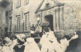 CARTE PHOTO OULCHY LE CHATEAU CEREMONIE DEVANT LE PARVIS DE L'EGLISE - France