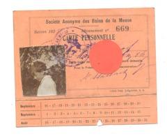 LIEGE - Abonnement Pour La SA Des Bains De La Meuse - Année:193... - Tickets D'entrée