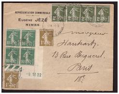 Semeuse N° 159 En Bloc De 4 Coin Daté Sur Lettre De NIMES Pour PARIS Du 1.3.34. - France