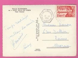 Andorre - St Julien De Loria 1959 Cachet Hexagonal Sur N°146 (YT) - Lettres & Documents