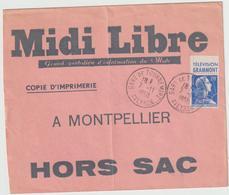 ESC Hors Sac Copie D'Imprimerie 20F Muller Pub O. Gare De Tournemire Aveyron 1958 - Marcophilie (Lettres)