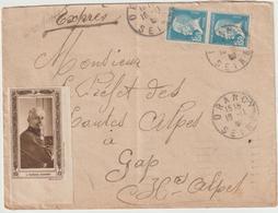 ESC Exprès 3F Pasteur Drancy Seine -> Gap, Vignette Maréchal Maunoury - Postmark Collection (Covers)