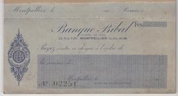 Carnet De Chèques De La Banque Bibal à Montpellier ( Fondée En 1903 ) - Carnet Complet De 14 Chèques - Chèques & Chèques De Voyage