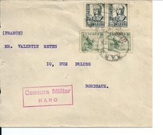 Lettre Espagne-France Avec Censure Militaire Haro - 1931-Aujourd'hui: II. République - ....Juan Carlos I
