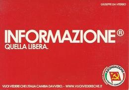 """Cartolina Pubblicitaria """"Rifondazione Partito Comunista"""" - Partiti Politici & Elezioni"""
