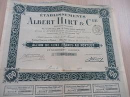 Action 100 Francs Au Porteur établissement Albert Hirt Et Cie Paris 1923 - Industrie