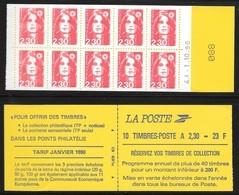 Carnet 2629-C1 Daté 1.10.90 Marianne De Briat 2,30 Rouge Réservez Vos Timbres - Carnets