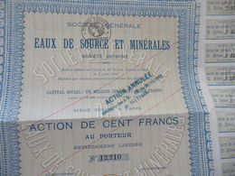 Action 100 Francs Au Porteur Eaux De Sources Minérales - Eau