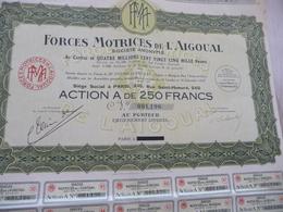 Action 250 Francs Au Porteur Forces Motrice De L'Aigoual 1927 - Industrie