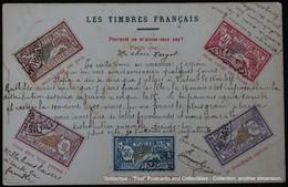 Représentation De Timbres Français Franse Potzegels Op Kaart French Poststamps On Card - Timbres (représentations)